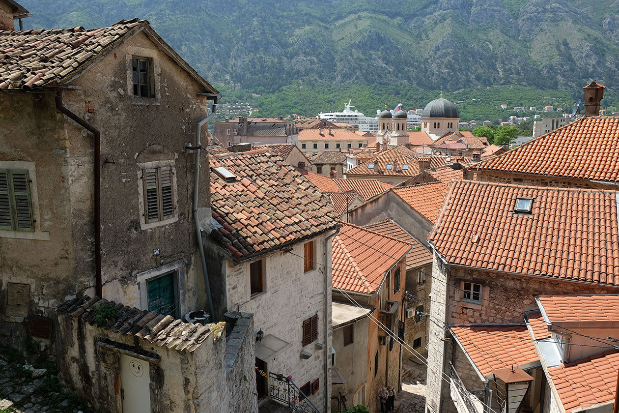 Red-tiled rooftops in Kotor old town