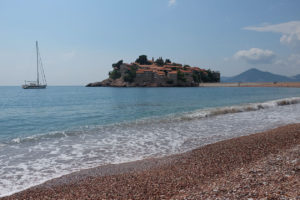 Sveti Stefan island from the public beach. The pebble really is that pink!