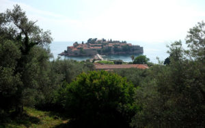 Sveti Stefan island from the road