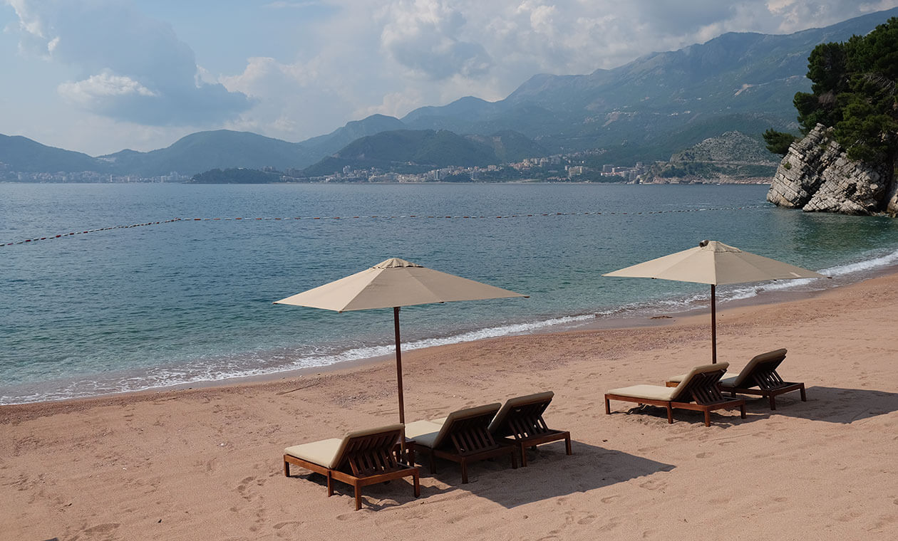 The private beach for guests of the Sveti Stefan resort