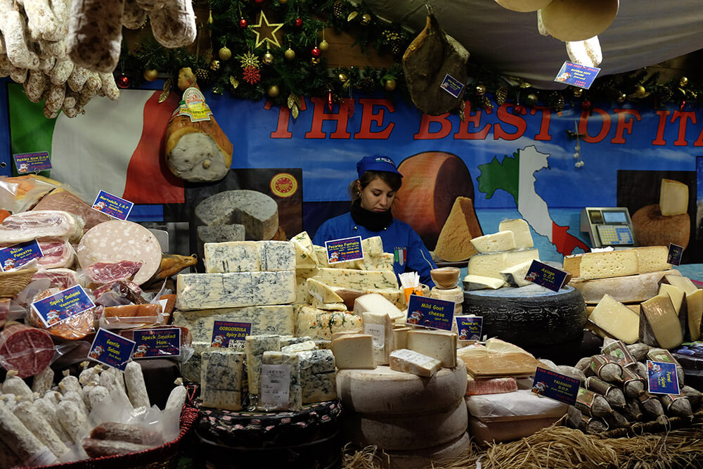An Italian deli stall at the Manchester Christmas Markets