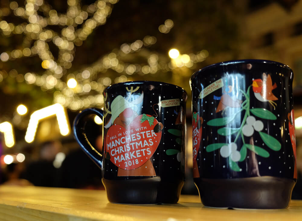 Souvenir mugs from the Manchester Christmas Markets