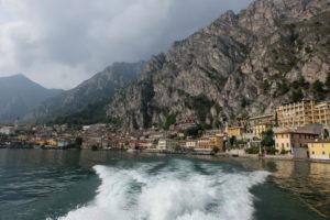 Leaving the Lake Garda village of Limone by ferry