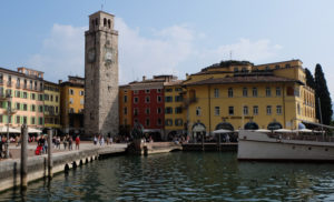 The centre of Riva del Garda with its historic clock tower