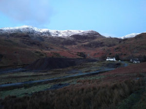 The early morning view from our hut in the fells above Coniston