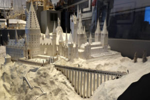A beautiful paper model of Hogwarts at the Making of Harry Potter exhibition