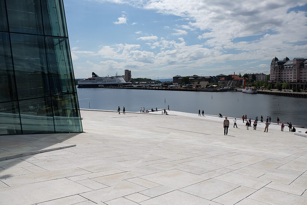 Walking on the roof at Oslo's Opera House