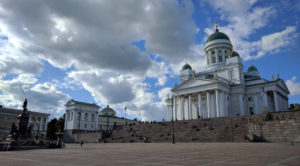Helsinki Cathedral sits overlooking grand Senate Square