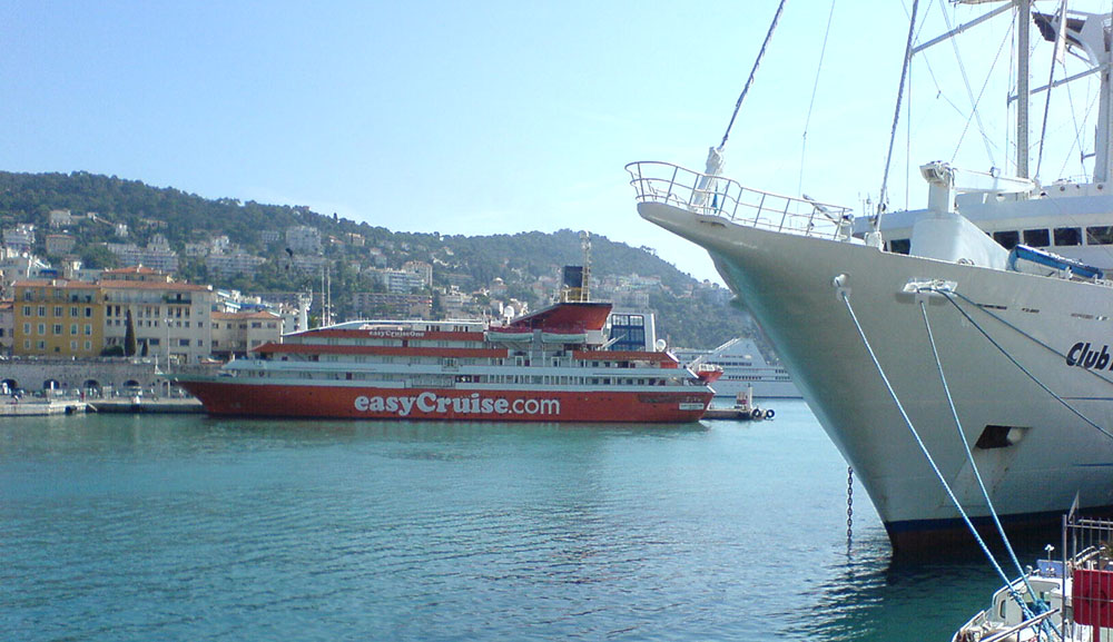 Our little orange easyCruise ship moored in Nice