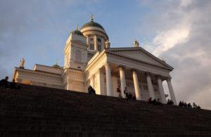 Looking up at Helsinki Cathedral at sunset
