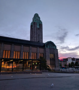 The clock tower of Helsinki Central Station at dawn