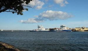 The Finnish icebreaker fleet, stored for the summer in Helsinki