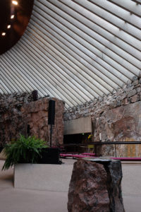 The font and altar in Helsinki's rock church