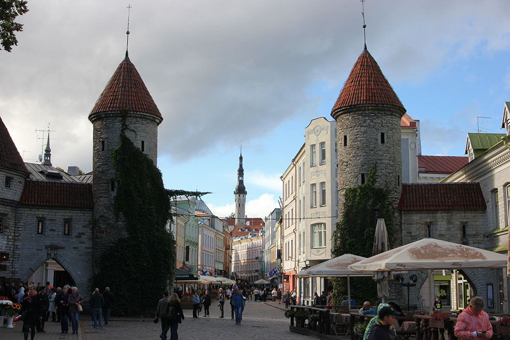 The Viru Gate at the entrance to the old town in Tallinn, Estonia