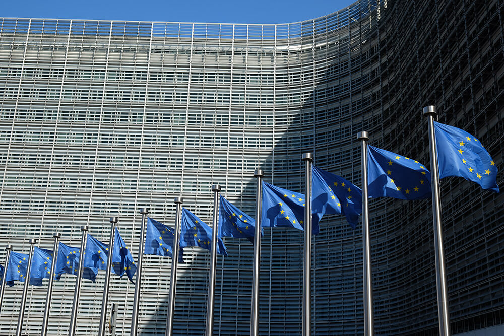 EU flags outside the Berlaymont Building