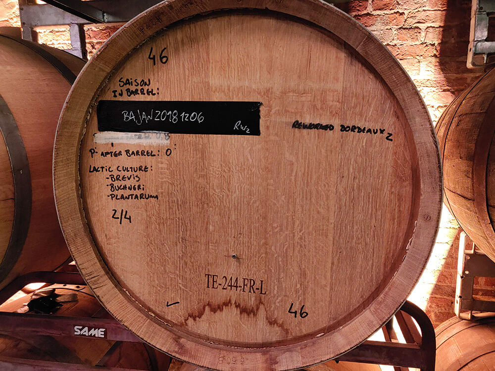 A beer barrel at Brussels Beer Project with the recipe written on the front