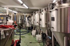 The brewery at Brussels Beer Project. You can watch beer being made from the bar.