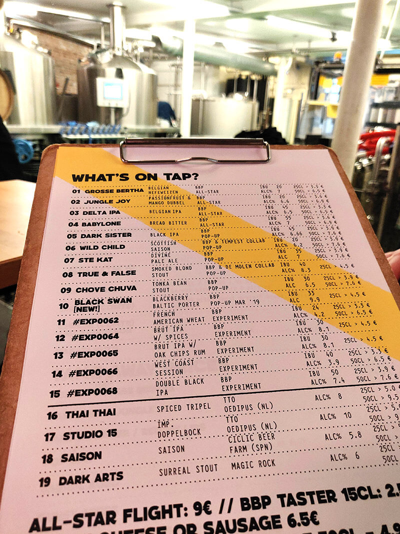 The beer menu at Brussels Beer Project - named All Star beers sit alongside the brewery's latest experimental creations