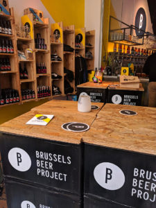 The bar and beer shop at Brussels Beer Project. We visited for a beer tasting and brewery tour.