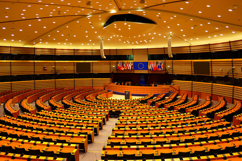 The Hemicycle debating chamber at the European Parliament
