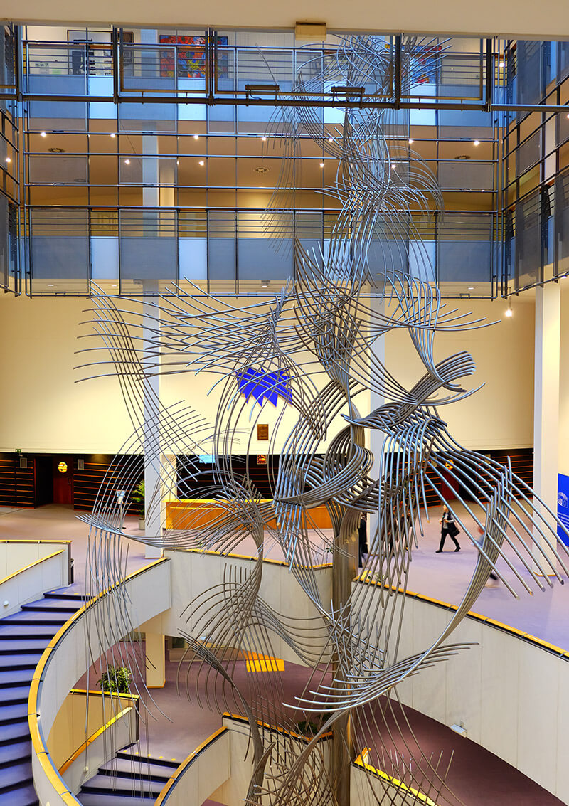 The huge sculpture in the atrium of the European Parliament