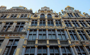 Golden decoration on the centuries-old guild houses in Brussels' Grand Place