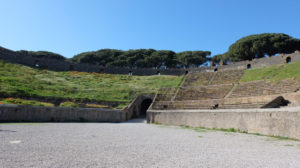 The large amphitheatre at Pompeii is the oldest surviving Roman amphiteatre in the world