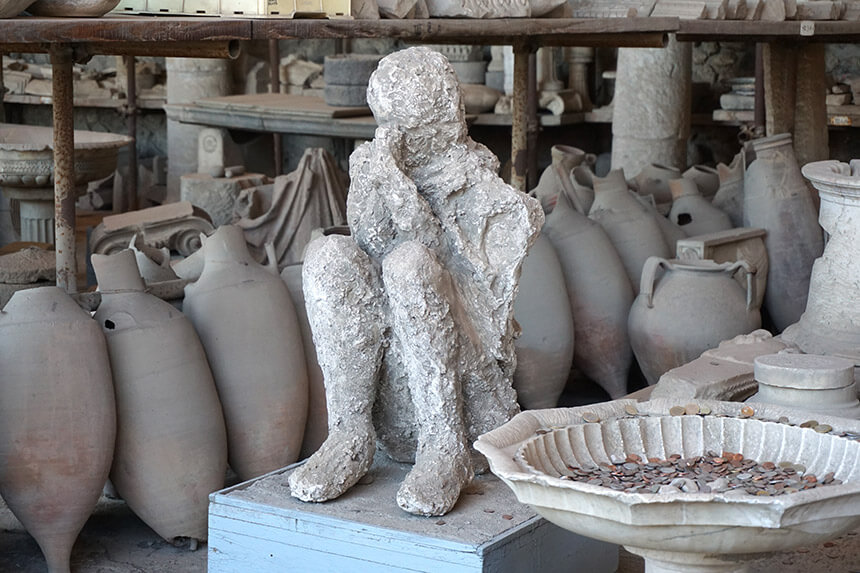 A body cast of one of the victims of the Vesuvius eruption. This cast was in the Forum, near the entrance, but the largest group of body casts is by the Porta Nocera in the Garden of the Fugitives.