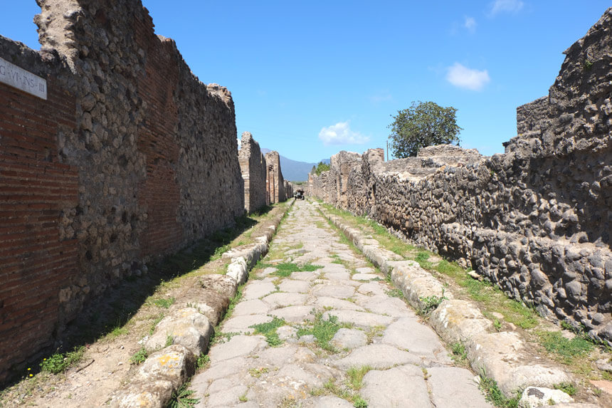 You'll do a lot of walking on roads like this when you visit Pompeii. Wear good shoes!