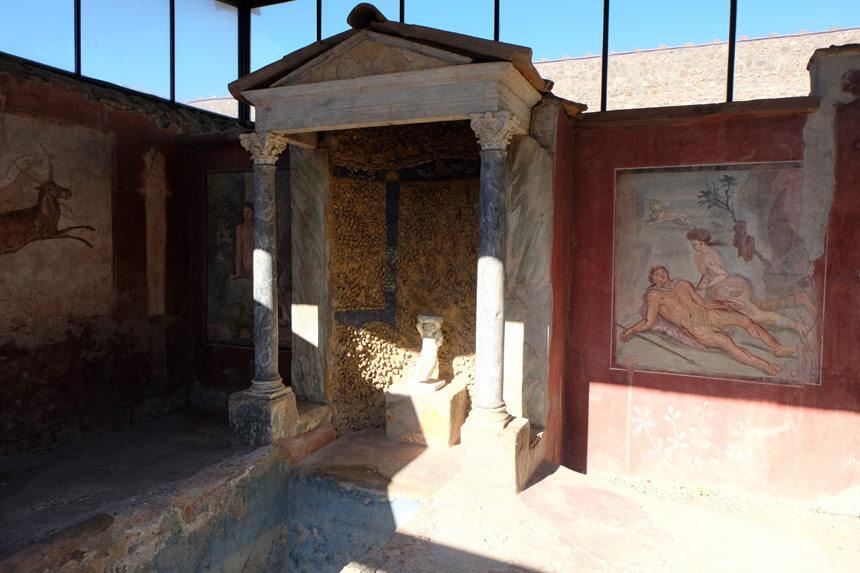 A small shrine in one of Pompeii's grand villas