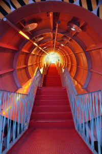 One of the staircases inside the Atomium