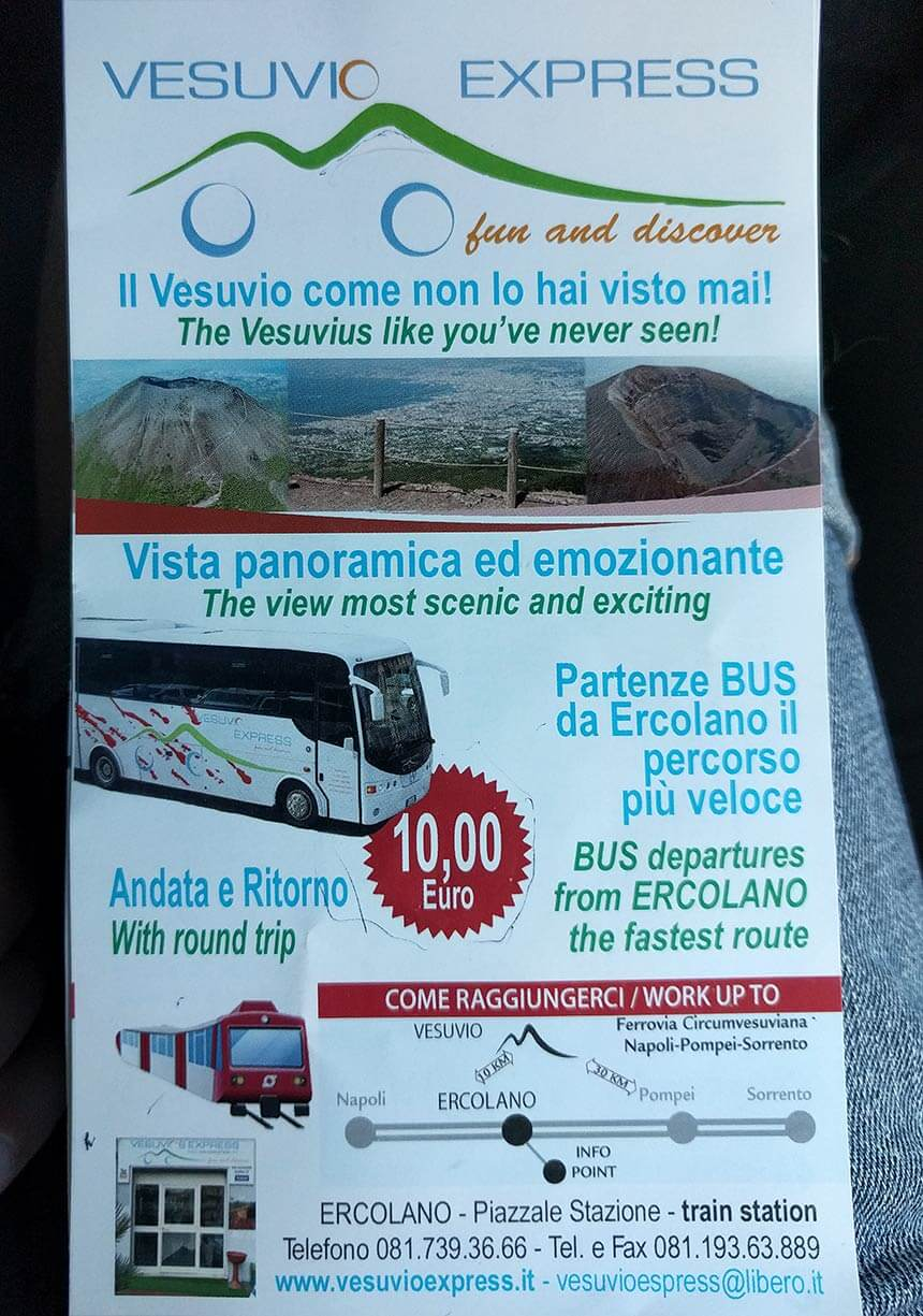 Vesuvio Express's leaflet for their bus tours from Ercolano to the top of Mount Vesuvius. Not all their buses are this fancy!