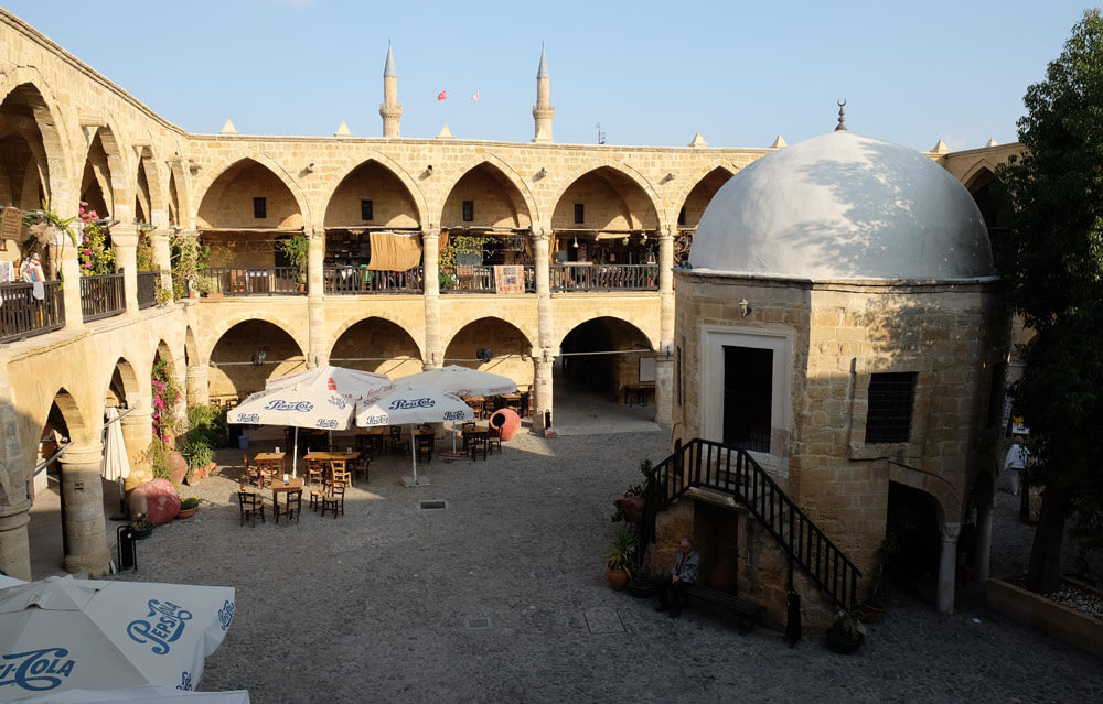 A view from the first floor of Büyük Han, looking across the courtyard with the small mosque in the centre.