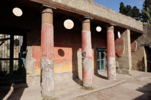 These columns survived with their red decorative paint intact