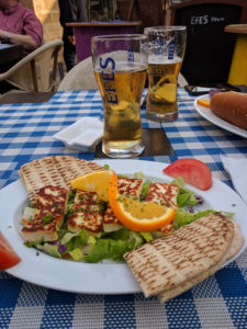 Turkish beer and Cypriot halloumi cheese in North Nicosia