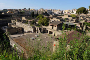 Looking down into the ancient city from street level in modern-day Ercolano