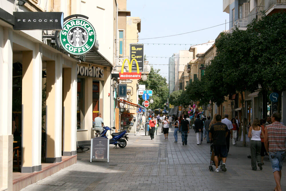 Ledra Street, on the Greek side of the border. Image licenced under Creative Commons from Alessio Bragadini on Flickr