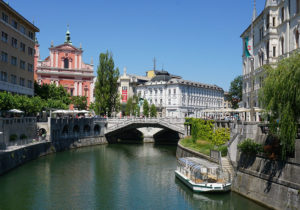 The Triple Bridge and the Ljubljanica river