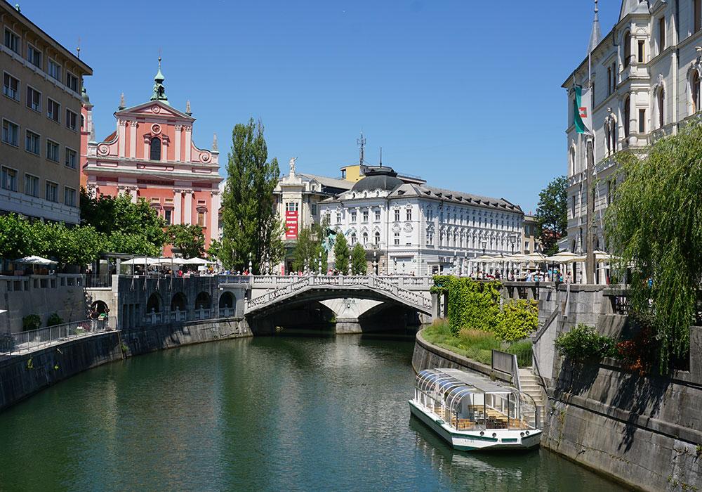 The Triple Bridge and the Ljubljanica river