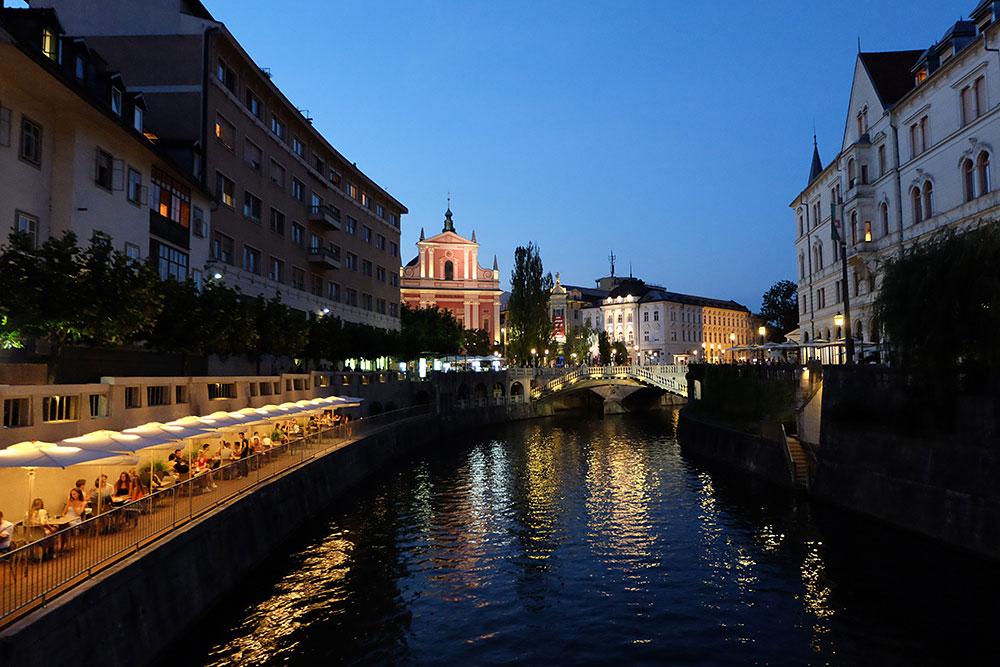 The bridges of Ljubljana at night