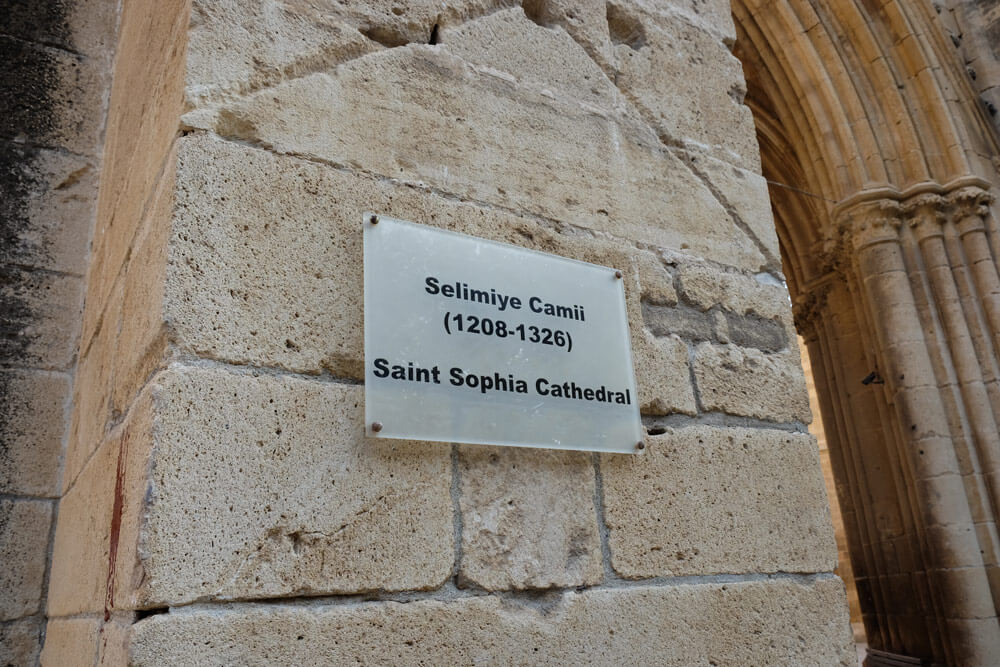 A sign on the Selimiye Mosque commemorating its history