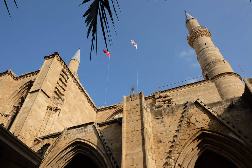 The minarets on Selimiye Mosque (formerly St Sophia Cathedral) were added in the 1500s