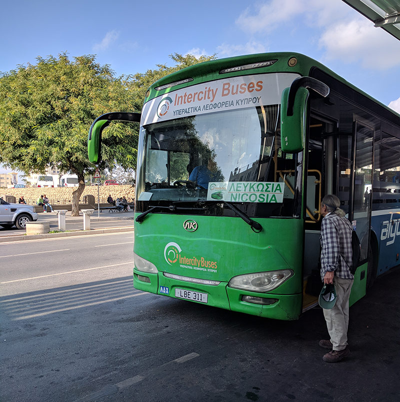 An inter-city bus to Nicosia