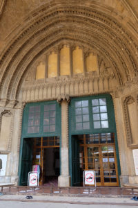 The main entrance to Selimiye Mosque. You can clearly see where the Christian symbols have been removed after the building was converted for Islamic worship