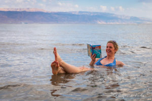 Bella from Passports & Pixels celebrating her 40th birthday in the Dead Sea