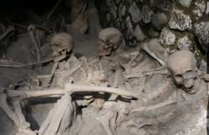 Skeletons in the boathouses at Herculaneum