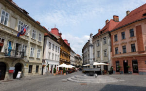 A picturesque square in Ljubljana old town