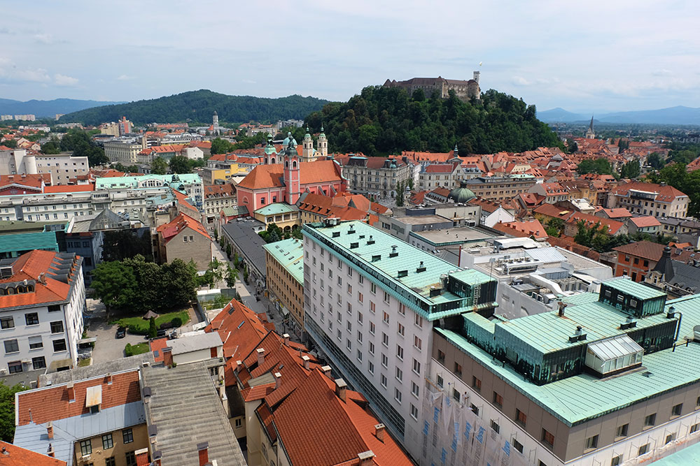 The view from the bar and viewing platform at the top of Ljubljana's Skyscraper is absolutely stunning