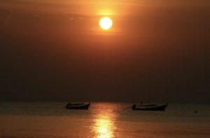 Sunset on Ko Chang Island, Thailand, on the Andaman Coast