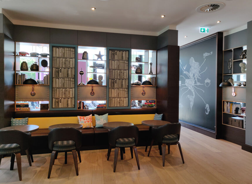The bar area at Premier Inn Hamburg